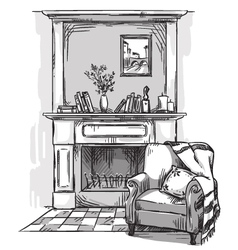 Hand drawn fireplace and an armchair vector