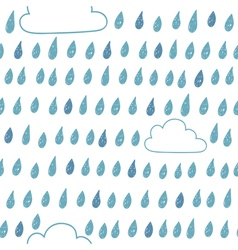 Cute seamless pattern with clouds and raindrops vector