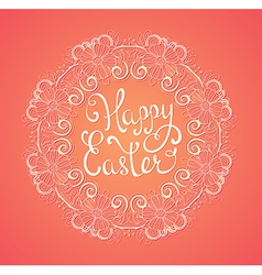 Pink easter background with greeting inscription vector