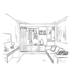 Hand drawn interior room with wardrobe sketch vector