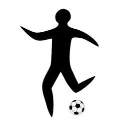 Sportsman man soccer player with ball silhouette vector