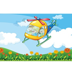 A helicopter flying with kids vector image