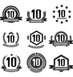 Anniversary 10 set logo vector image