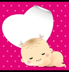 Baby shower card with sweet sleeping newborn baby vector image