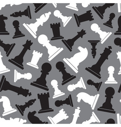 black and white chess pieces seamless gray pattern vector image