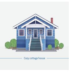 Blue cozy cottage house vector