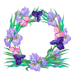 botanical pink and violet iris wreath vector image vector image