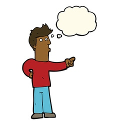 Cartoon curious man pointing with thought bubble vector