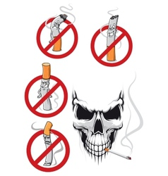 Cartooned smoking kills and no smoking concepts vector image