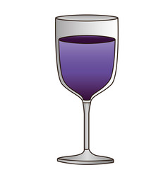 Colorful silhouette of glass of wine with purple vector