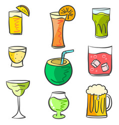 Colorful various drink doodle set vector