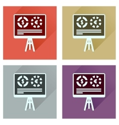 Concept flat icons with long shadow business vector image vector image