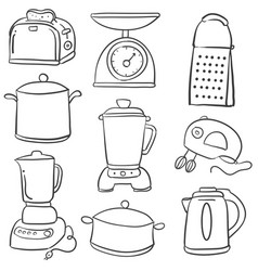 Doodle of kitchen equipment style vector