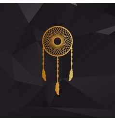 Dream catcher sign golden style on background vector