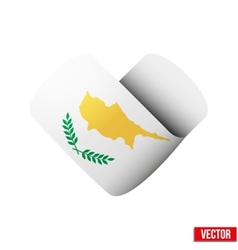 Flag icon in the form of heart I love Cyprus vector image