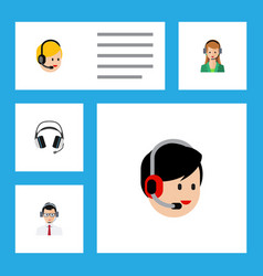 Flat call set of secretary call center earphone vector