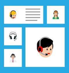 flat call set of secretary call center earphone vector image vector image