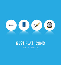 Flat icon device set of transistor hdd resistor vector
