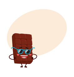Funny chocolate bar character in funky sunglasses vector