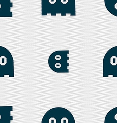 Ghost icon sign seamless pattern with geometric vector