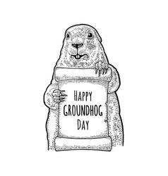 groundhog holding poster engraving vintage black vector image vector image