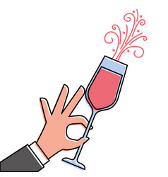Hand holding champagne glass cheers celebration vector