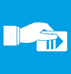 Hand with parking ticket icon white vector