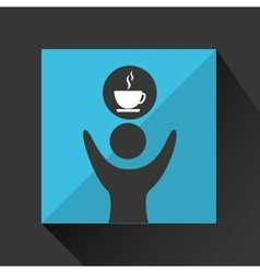 Happy man with cup coffee icon vector