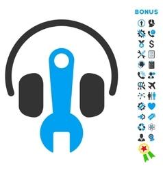 Headphones Tuning Flat Icon with Bonus vector image