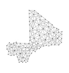 Map of mali from polygonal black lines and dots vector
