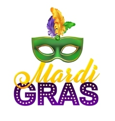 Mardi gras party mask postercalligraphy and vector
