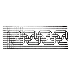 Medieval fold-tape fret band has a meandering vector