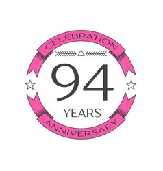 Ninety four years anniversary celebration logo vector