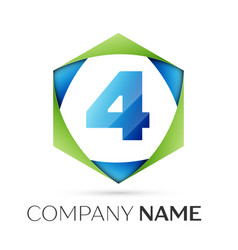 number four symbol in colorful hexagonal vector image