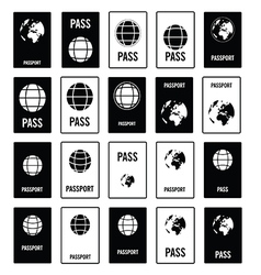 Passport travel set in black and white color vector