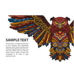 patterned owl on white background with place for vector image vector image