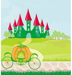 Pumpkin carriage standing in front of a fairytale vector