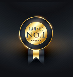 Ranked no1 golden label with ribbon vector