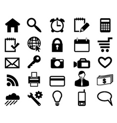 set icons for web design black color vector vector image vector image