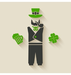 St Patrick man with beer and shamrock vector image