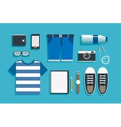 Teenage travel accessories flat design vector