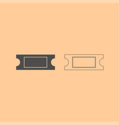 Ticket dark grey set icon vector