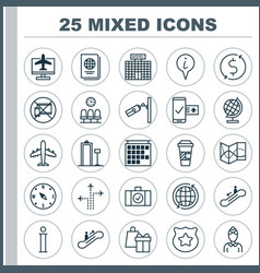 Travel icons set collection of information vector