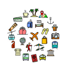 travel related set - 25 color outline icons vector image vector image