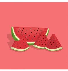 Watermelon fruit slice bite vector