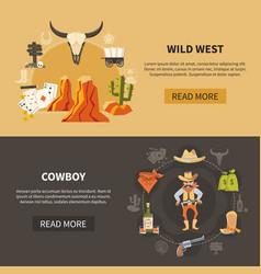 Wild west horizontal banners vector