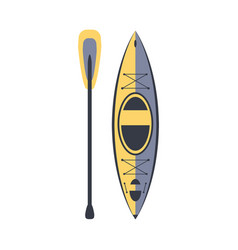 yellow and blue kayak and peddle part of boat and vector image vector image