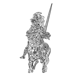 Zentangle stylized ink sketch of a knight on the vector image vector image