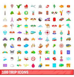 100 trip icons set cartoon style vector