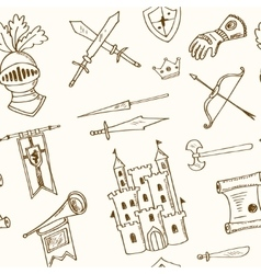 Sketch knight symbols and elements seamless vector image